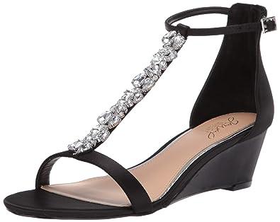 cbc1bb2db Badgley Mischka Jewel Women's Darrell Wedge Sandal, Black Satin, ...