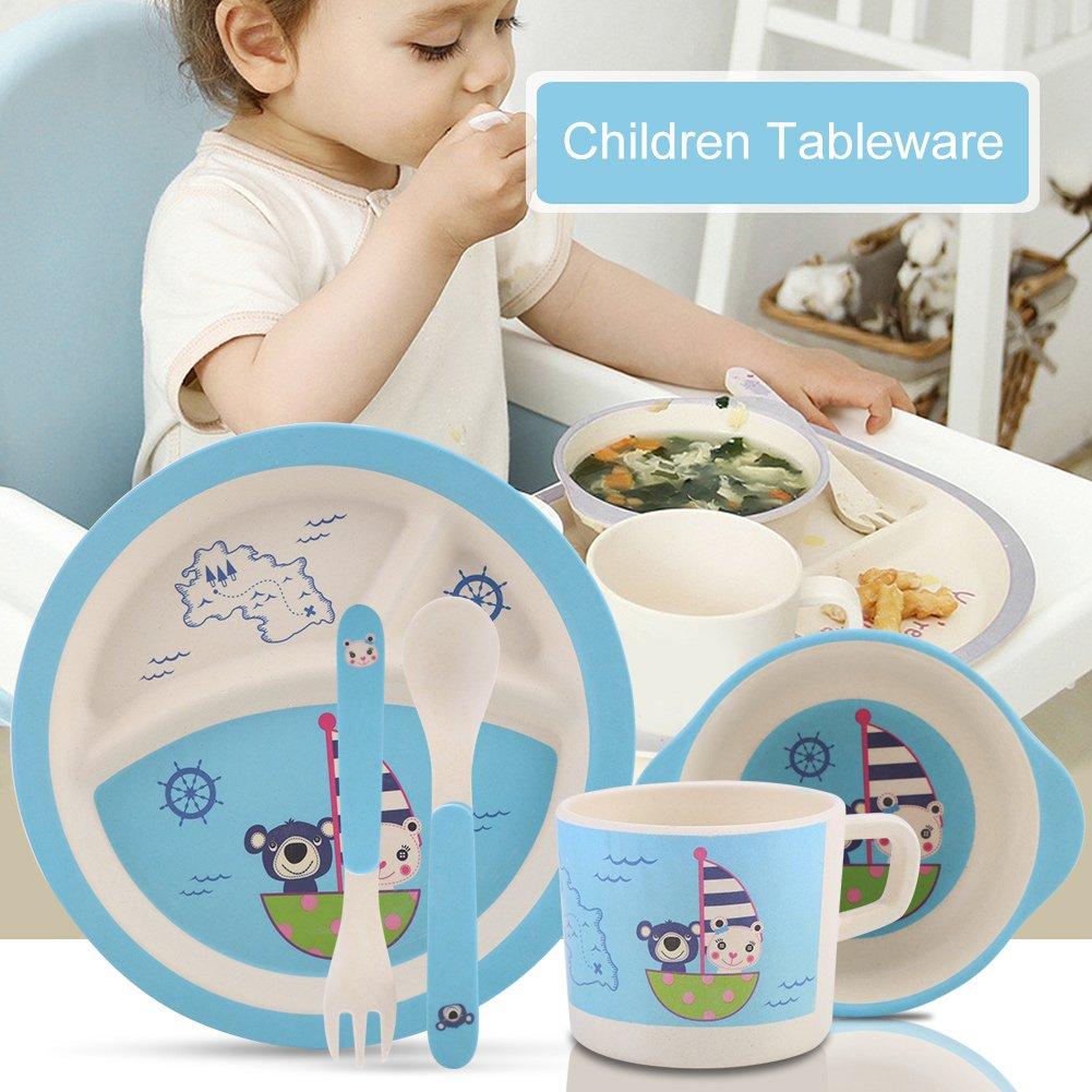 B/ärenmeer 5Pcs Vaisselle Enfants Ensemble de Repas Fiber de Bambou Eco-Amicale Mati/ère Dessin anim/é pour Enfants B/éb/é