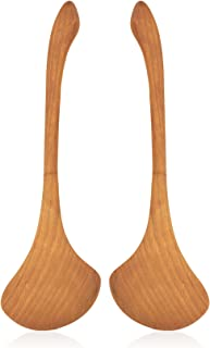 product image for Jonathan's Family Spoons Set of 2 Small Salad Spoons, Handmade Cherry Wooden Spoons for Serving, 10 Inches Long