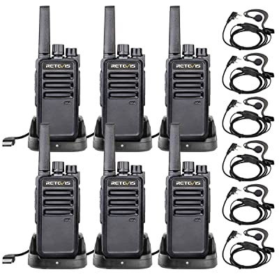 Retevis RT68 Walkie Talkies for Adults FRS 16 Channel VOX Small Rugged Long Range Two Way Radios with Earpiece(6 Pack): Car Electronics