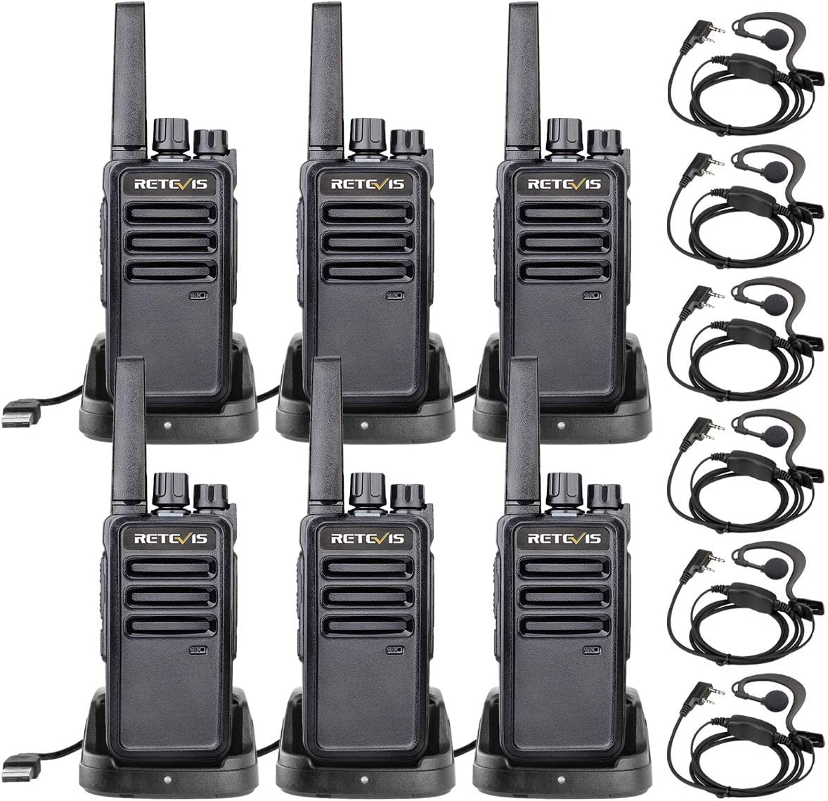 Retevis RT68 Walkie Talkies Adults Long Range,FRS Handsfree Small Rugged, Rechargeable Two Way Radio,2 Way Radios with Earpieces Business(6 Pack)