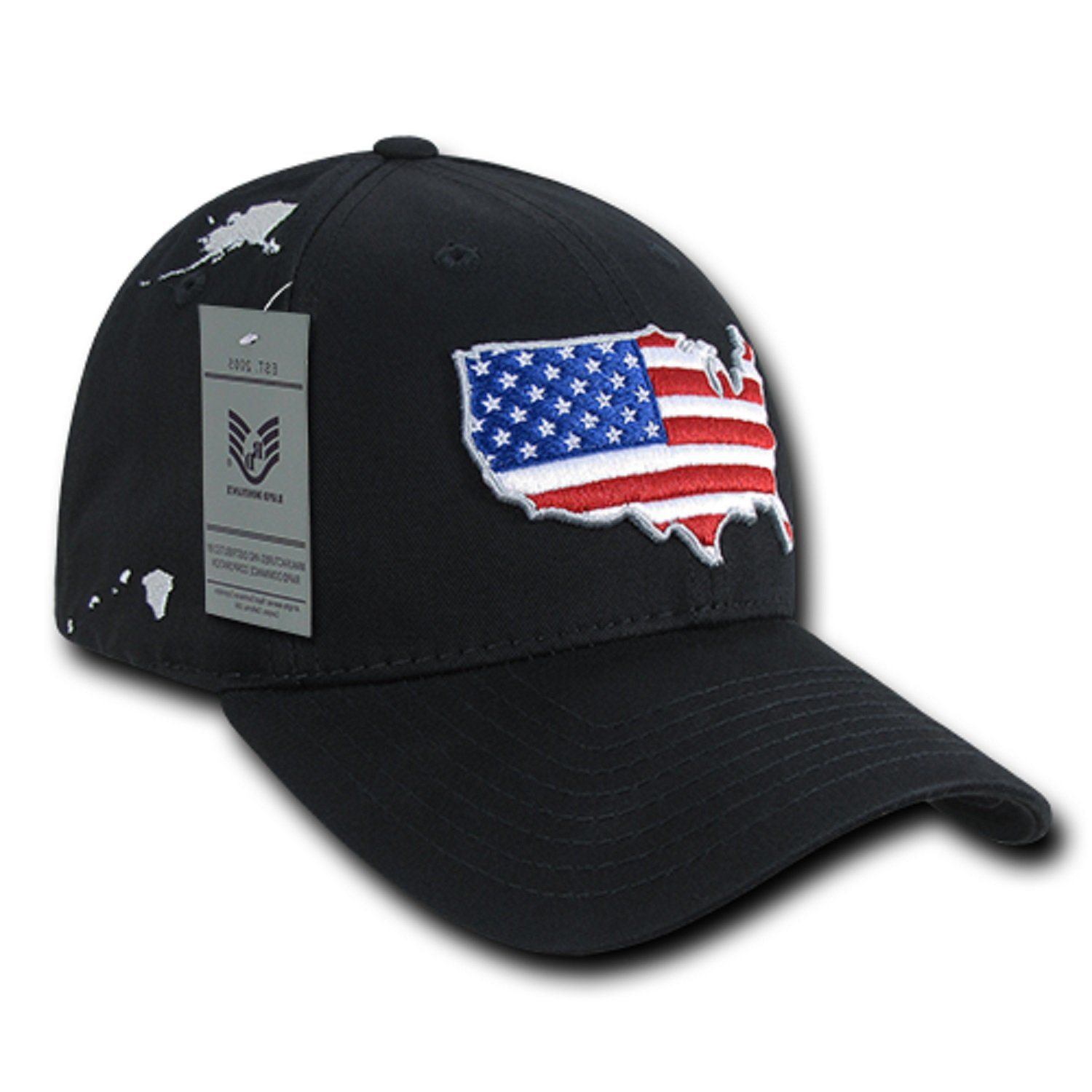 2ae361eaac2c3 Black USA US American Flag United States America Low Crown Structured Baseball  Hat Cap at Amazon Men s Clothing store