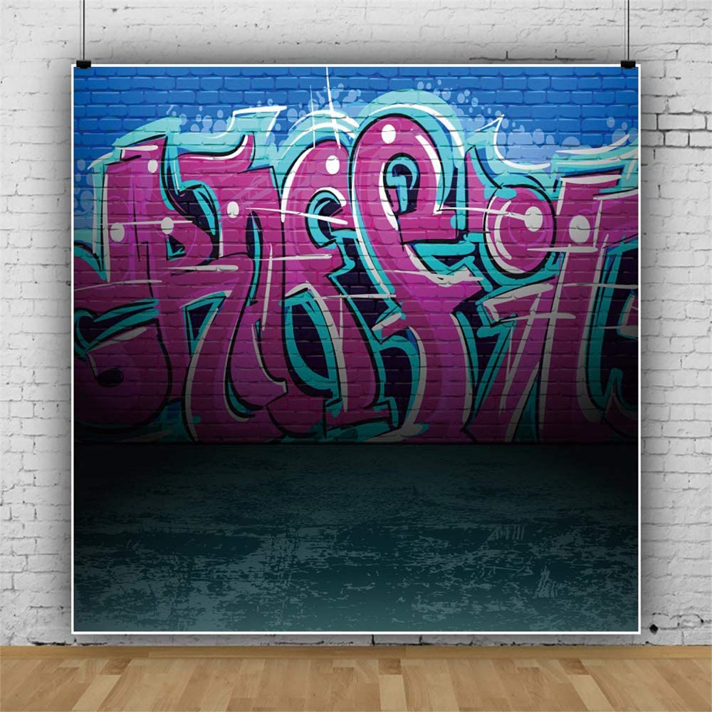 YEELE 10x10ft Graffiti Wall Photography Backdrop Urban Street Grunge Art Background Music Events Street Dance Show Photo Portrait Booth Photoshoot Studio Props Digital Wallpaper