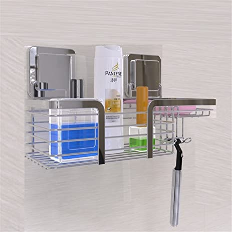 Shower Caddy Stainless Steel, Powerful Self Adhesive Shower Organizer  Corner Basket Shelves With Soap Dishes