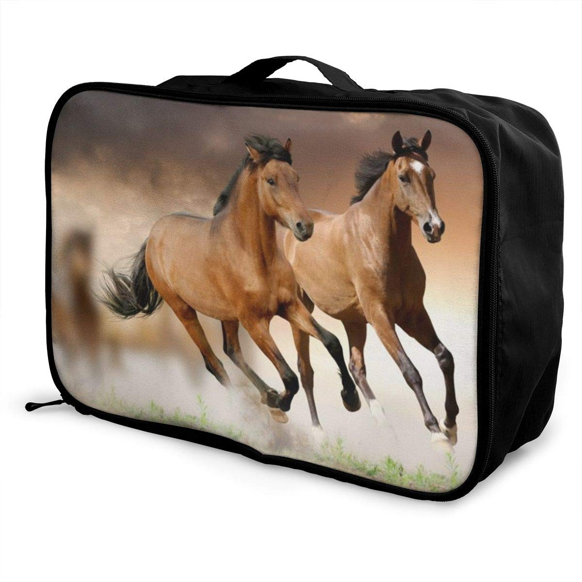 Horses Running Customize Casual Portable Travel Bag Suitcase Storage Bag Luggage Packing Tote Bag Trolley Bag