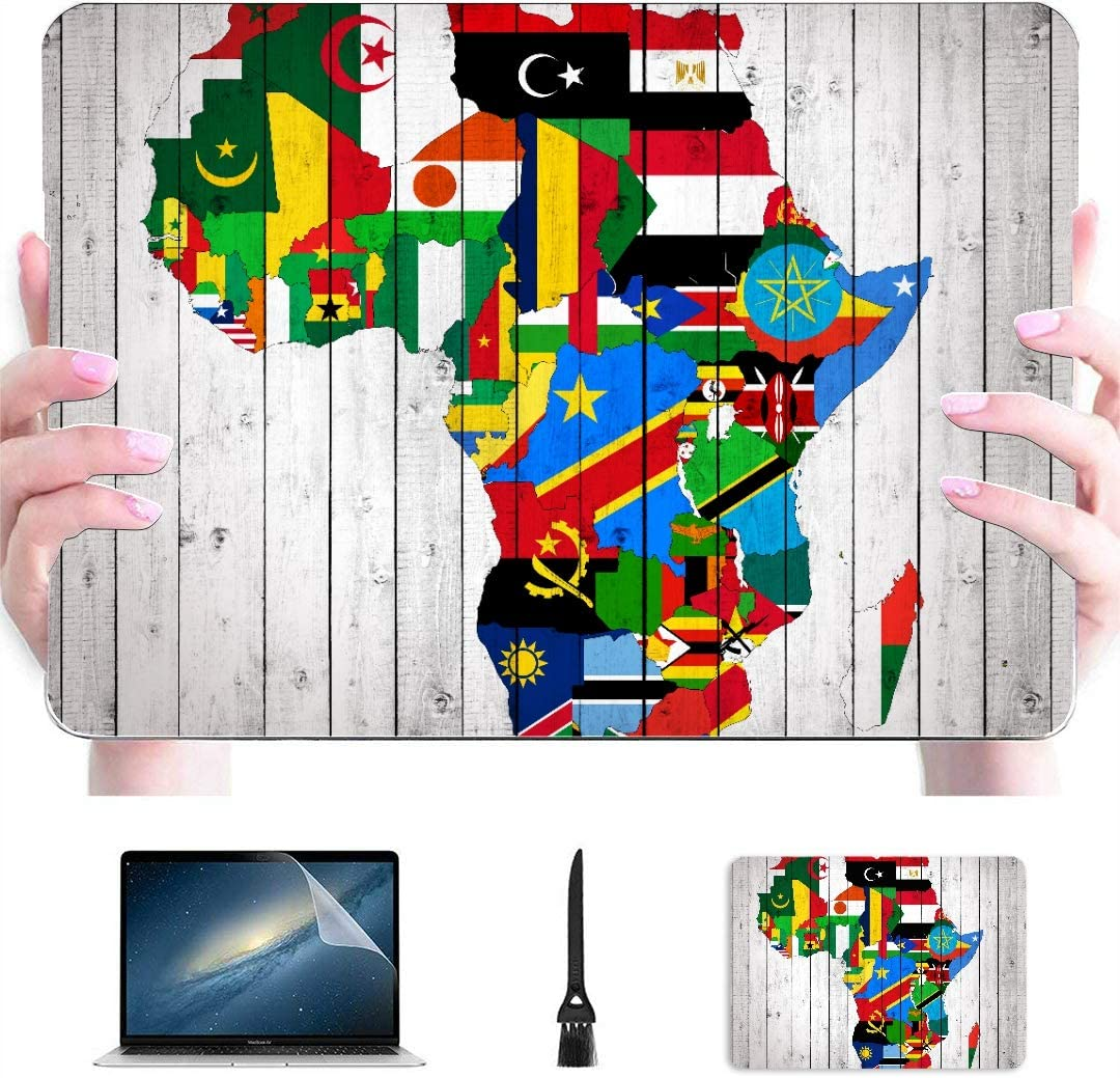 Macbook Pro Shell Case África Continente Bandera Mapa en Madera Plástico Hard Shell Compatible Mac Case para Macbook Air Protection Accesorios para Macbook con Alfombrilla de ratón: Amazon.es: Electrónica