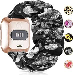 MORETEK Scrunchie Versa Versa 2 Bands for Women Soft Fabric Elastic Replacement Wristbands Compatible with Fitbit Versa Versa 2 (BlackRose)