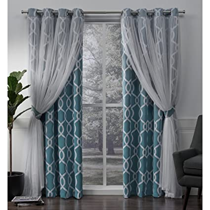 f07fd2ed7b Amazon.com  Exclusive Home Carmela Layered Geometric Blackout and Sheer  Grommet Top Curtain Panel Pair