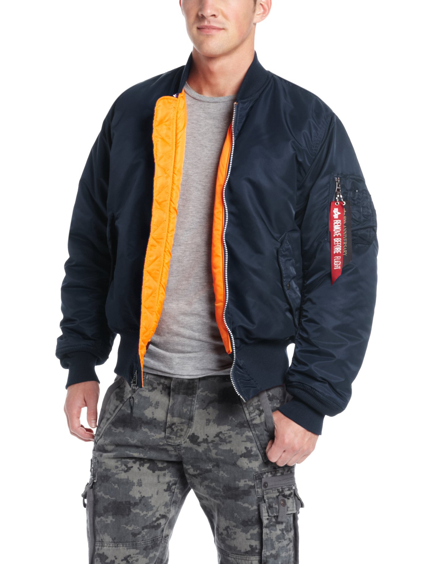 Alpha Industries Men's MA-1 Flight Bomber Jacket, Replica Blue, Small by Alpha Industries