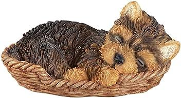 Collections Etc Sleeping Pet Pal in Basket Figurine, Yorkie