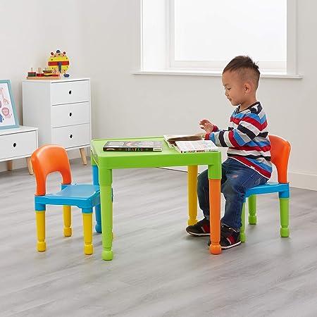 Libertad de Juguetes de los niños Mesa y 2 sillas Juego, plástico, Multi-Color: Amazon.es: Hogar