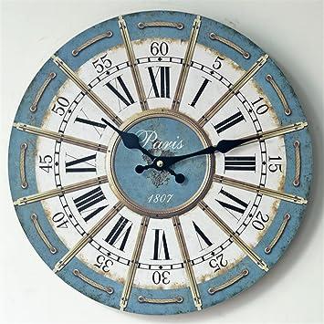 FortuneVin Silenciosas Reloj Redondo Decorativo Cuarzo para Sala Estar, Cocina, Habitación, Baño Ningún Cuadro Digital Retro,35 * 35cm.: Amazon.es: Hogar
