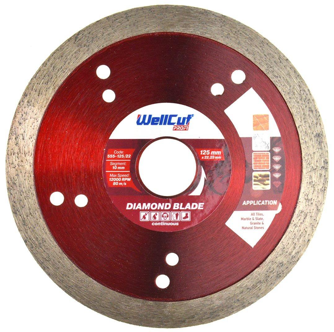 WELLCUT 555-125/22 Profi Continuous Bore Diamond Blade 125 x 22 mm, 125 22.23 mm 2LS.CO.UK
