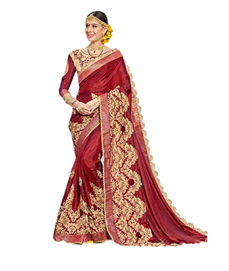 d483cc0e853fbf Rangat Maroon Colored Satin Silk Jari Embroidery With Stone Work & 3d  Flower Saree: Amazon.in: Clothing & Accessories
