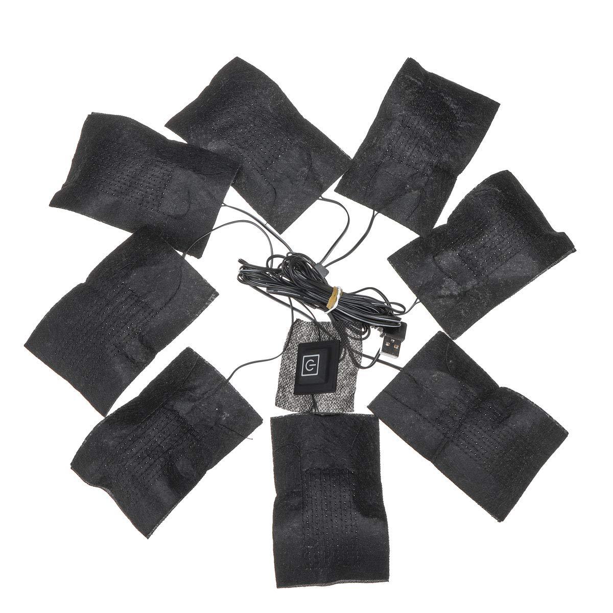 YONGYAO 8 In 1 USB 5 Gang Kleidung Heizkissen Einstellbare Temperatur Thermische Kleidung Jacke Elektrische