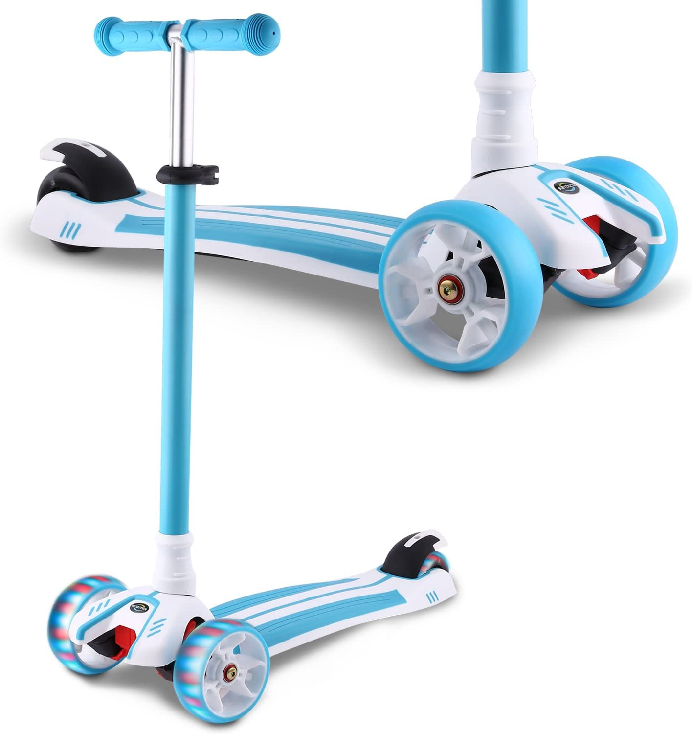 Hikole Kick Scooter for Kids, 3 Wheel Scooter for Toddlers Girls Boys, 3 Adjustable Height, Lean to Steer with PU Flashing Wheels for Children from 3 to 12 Years Old