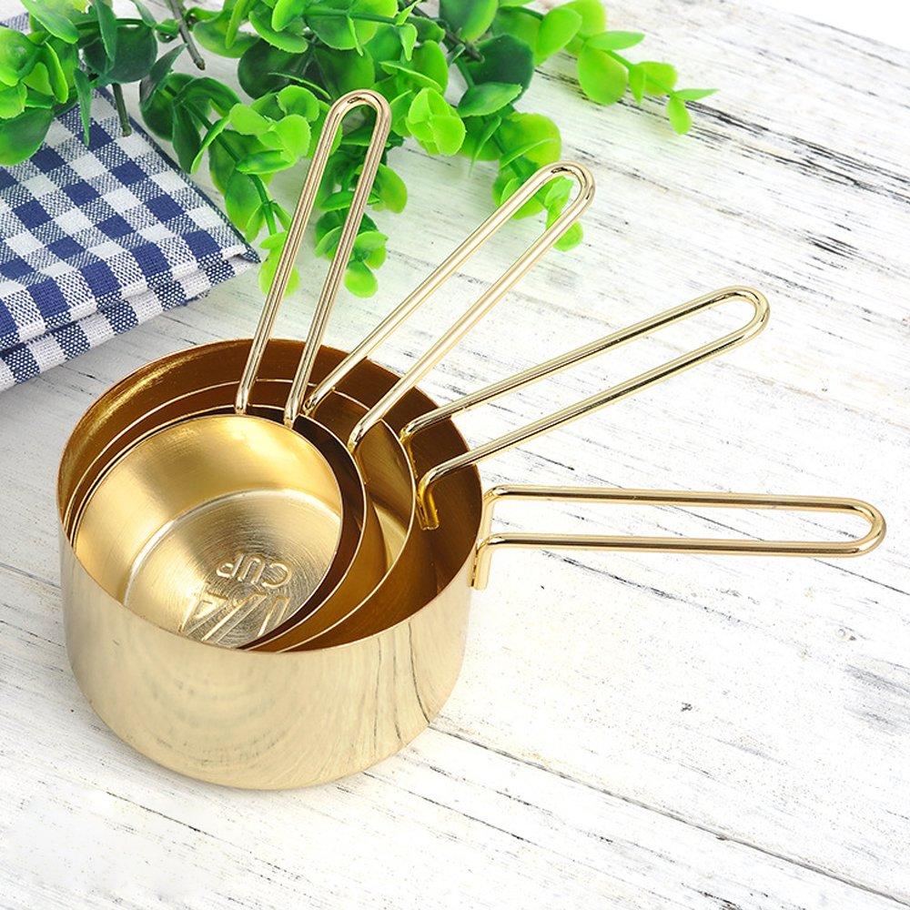 Edelstahl Messlöffel Set Gold Messbecher für Kochen Backen tragbar Küchenutensilien Set von 4 PCS 1 Tasse 1/2 Tasse 1/3 Tasse 1/4 Tasse ZY