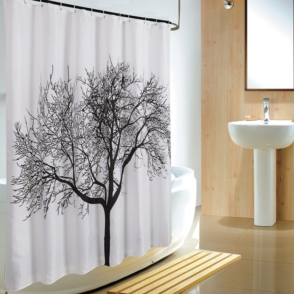 Uphome 72 X 72 Inch Fashion Big Tree Bathroom Shower Curtain - White and Black Polyester Fabric Bathroom Accessories Home Decoration