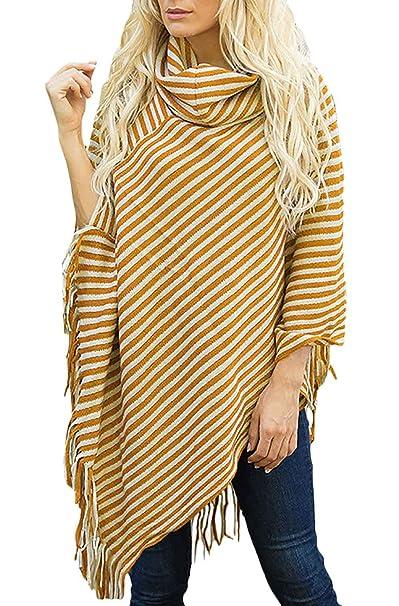 Mujer Capa Primavera Otoño Flecos Estolas Manga Larga High Collar Asimetricos Casual Ropa Poncho Abrigos (Color : Amarillo, Size : One Size): Amazon.es: ...