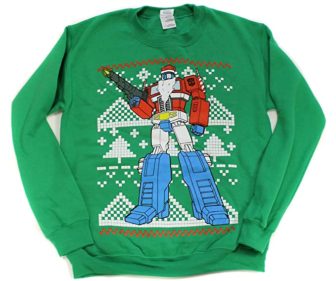 Christmas Ugly Sweater.Transformers Optimus Prime Christmas Ugly Sweater Style Crew Neck Sweatshirt