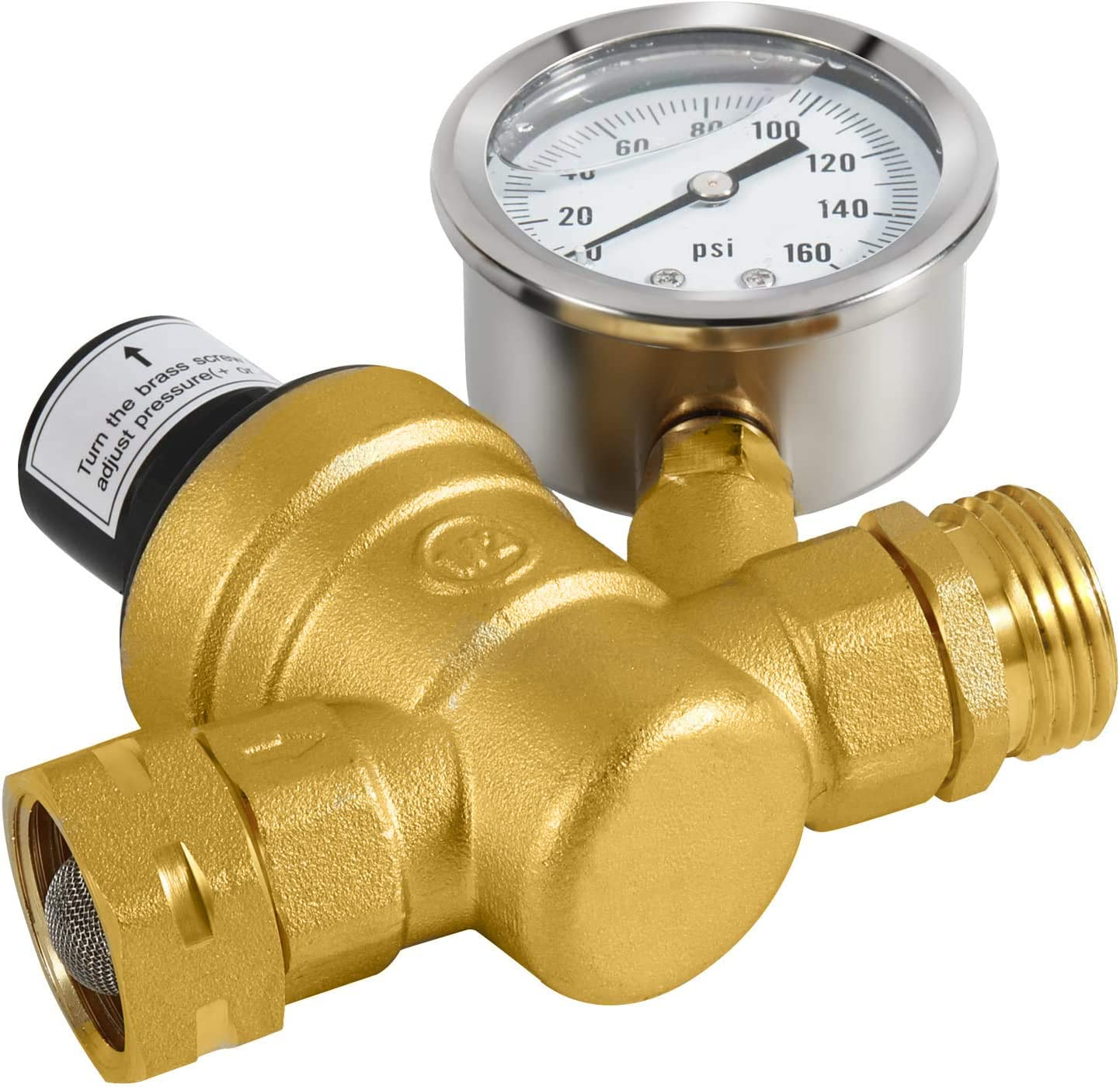 Brass Lead-Free Adjustable Water Pressure Reducer Valve with Gauge and Inlet Screen Filters for RV Camper Travel Trailer beduan RV Water Pressure Regulator Valve