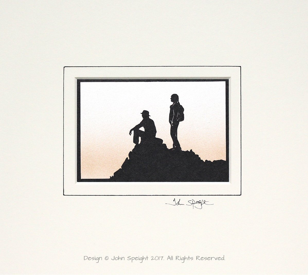 Walkers On Hilltop Original Signed Hand Cut Silhouette Papercut Art by John Speight - Gift for Him and Her