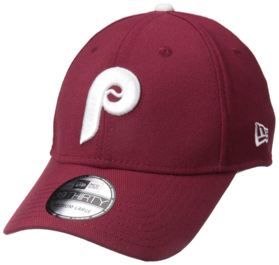 New Era MLB Philadelphia Phillies Cooperstown Team Classic 39Thirty Stretch Fit Cap, Small/Medium, Maroon