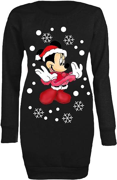 Custom World Mini Abito da Donna Lungo Minnie Mouse Fiocchi di Neve di Natale Lungo Maglione 34 46