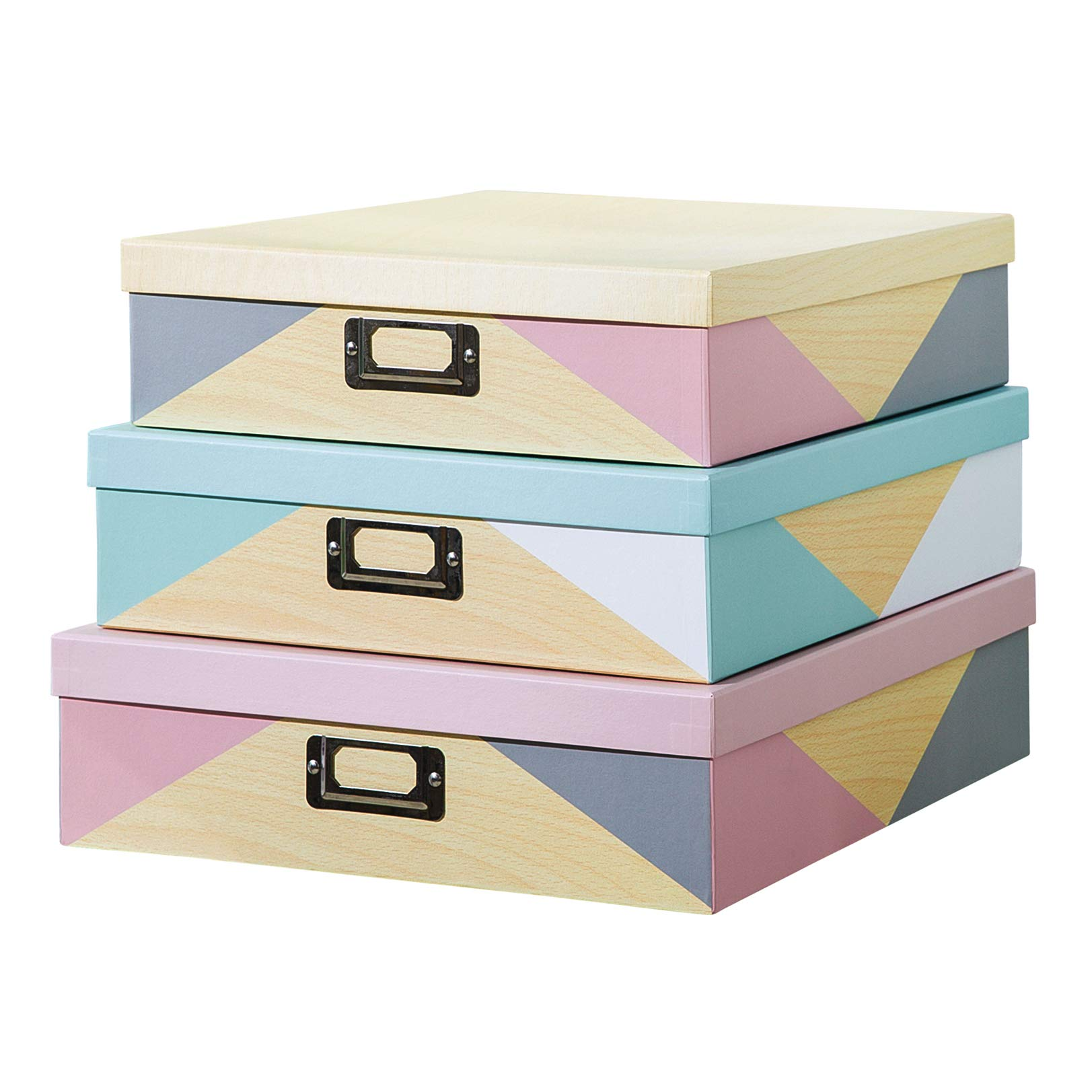 SLPR Decorative Storage Cardboard Boxes with Metal Plate (Set of 3, Nordic Triangles) | Nesting Gift Boxes with Lid for Keepsake Toys Photos Memories Closet Nursery Office Bedroom Decoration