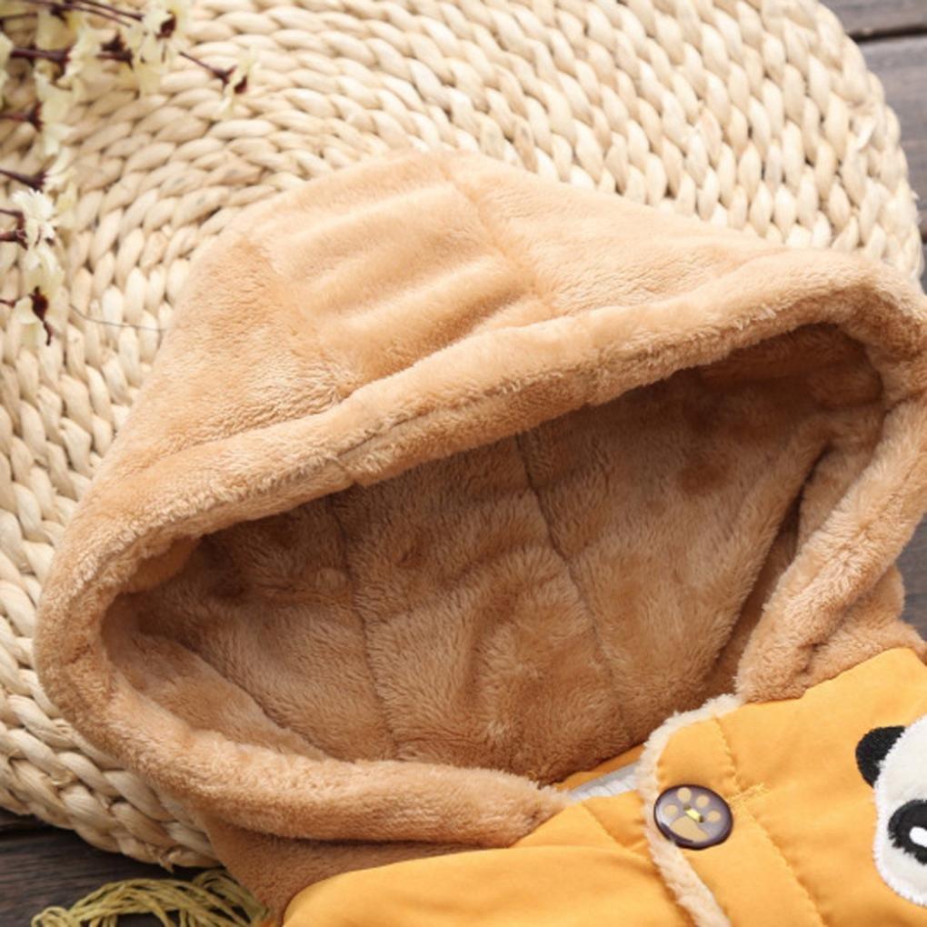 LNGRY Baby Toddler Boy Girl Cartoon Panda Autumn Winter Hooded Coat Warm Clothes