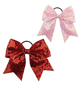high quality elegant shoes delicate colors Girls Cheer Bow Ponytail Holder Big Hair Bow Tie with Glitter Sequins  Bowknot JB80 (Red Pink)