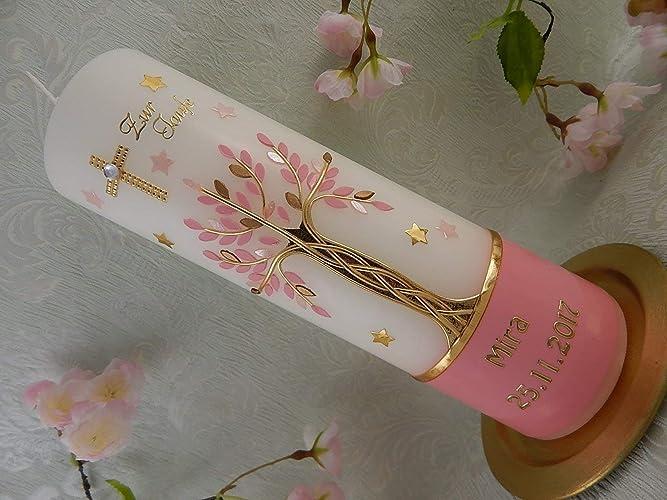 Taufkerze Lebensbaum Kreuz Sterne gold rosa pink Taufkerzen Mädchen 250/70  mm inkl. Beschriftung