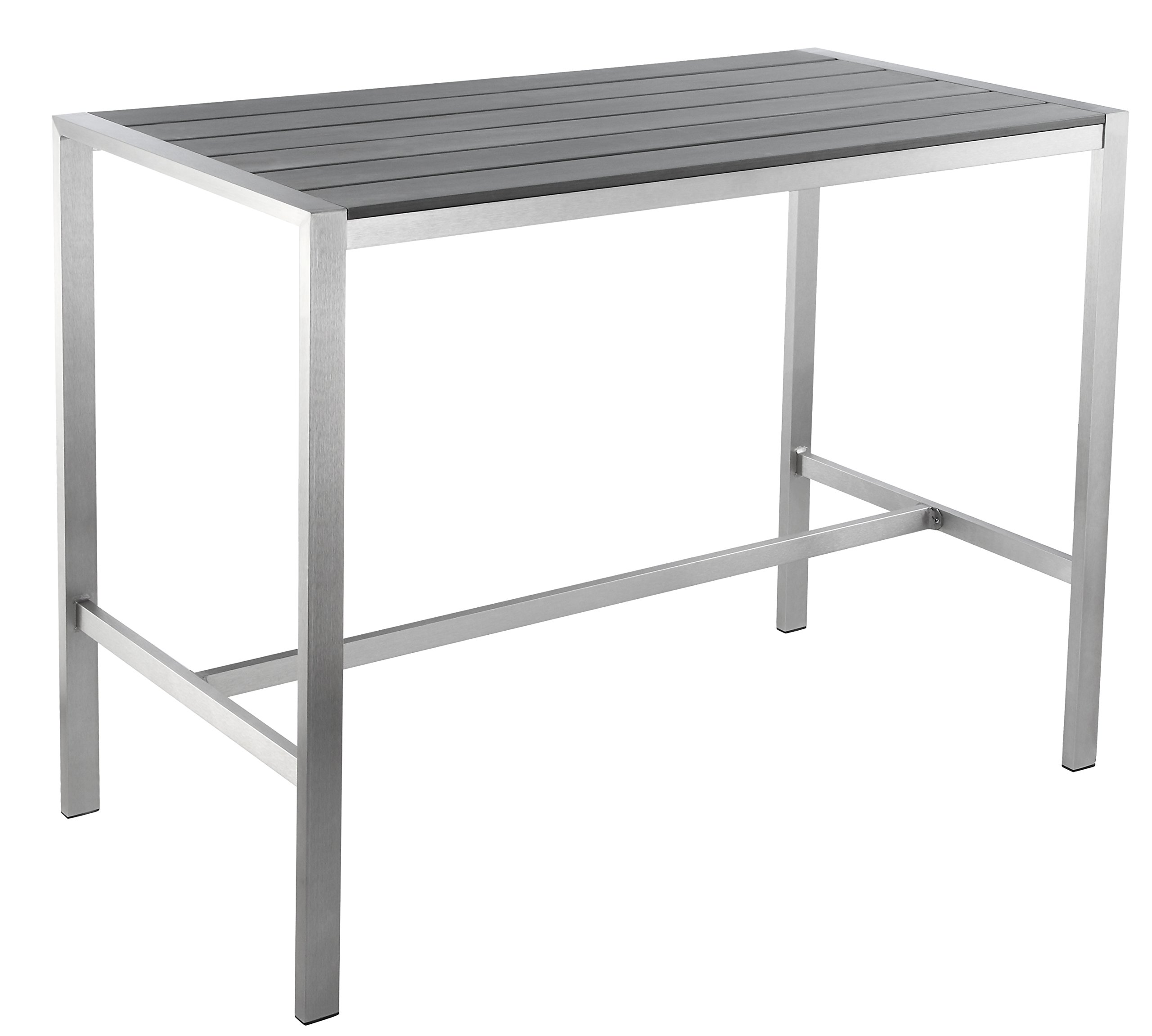 Haven Aluminum Outdoor Long Bar Table in Slate Grey Poly Wood, Brushed Nickel by Cortesi Home