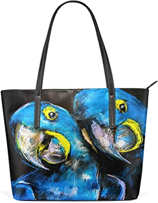 Womens Leather Tote Shoulder Bags Handbags with Watercolor Parrot