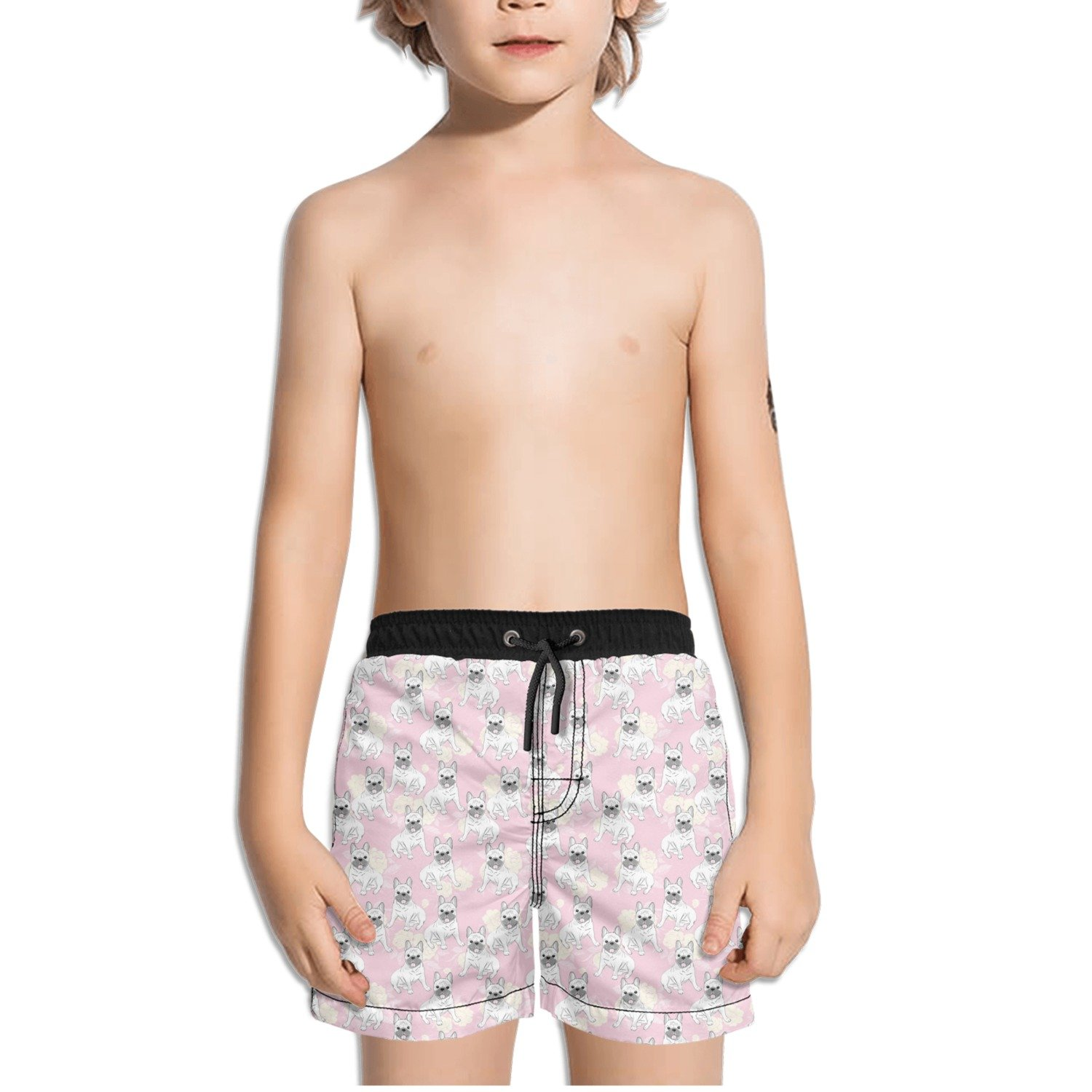 Juliuse Marthar Pug Dog with Rose Pink Swim Trunks Quick Dry Beach Board Shorts for Boys