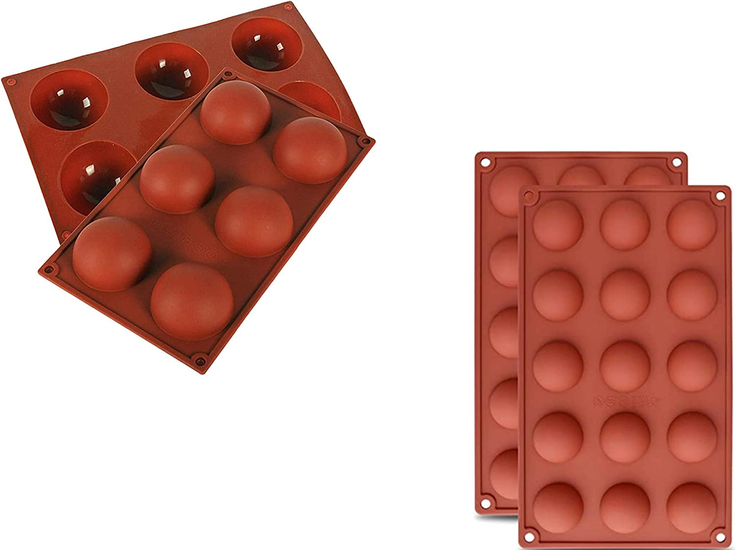 Semi Sphere Chocolate Bomb Silicone Mold (4pc set, includes 2 six cavity and two 15 cavity) for Baking, ice tray, hot chocolate bombs, Cake, Jelly, Dome Mousse and more,