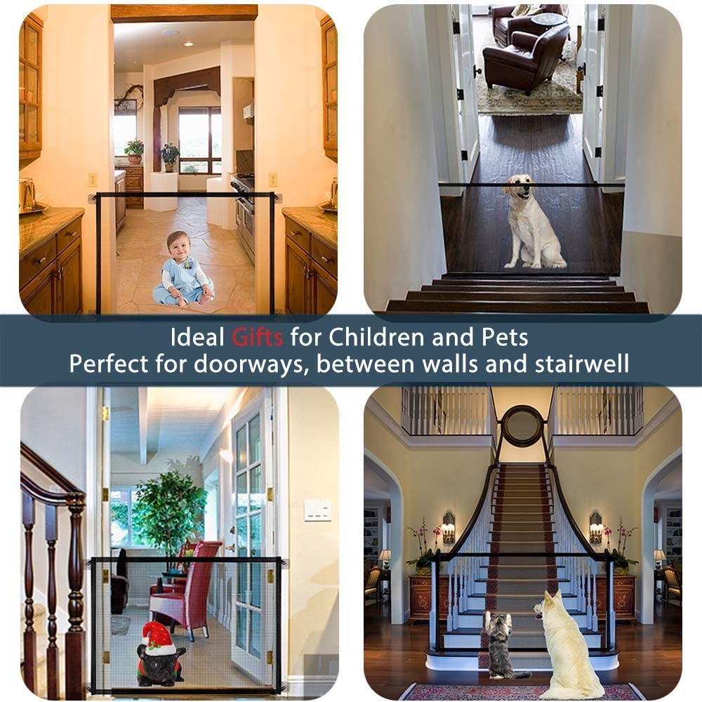 Safety Fence for Hall Doorway 78 * 104cm Balck 104cm Baby Gates Pet Safety Black Safe Anywhere FUTUREYUN Magic Gate for Dogs