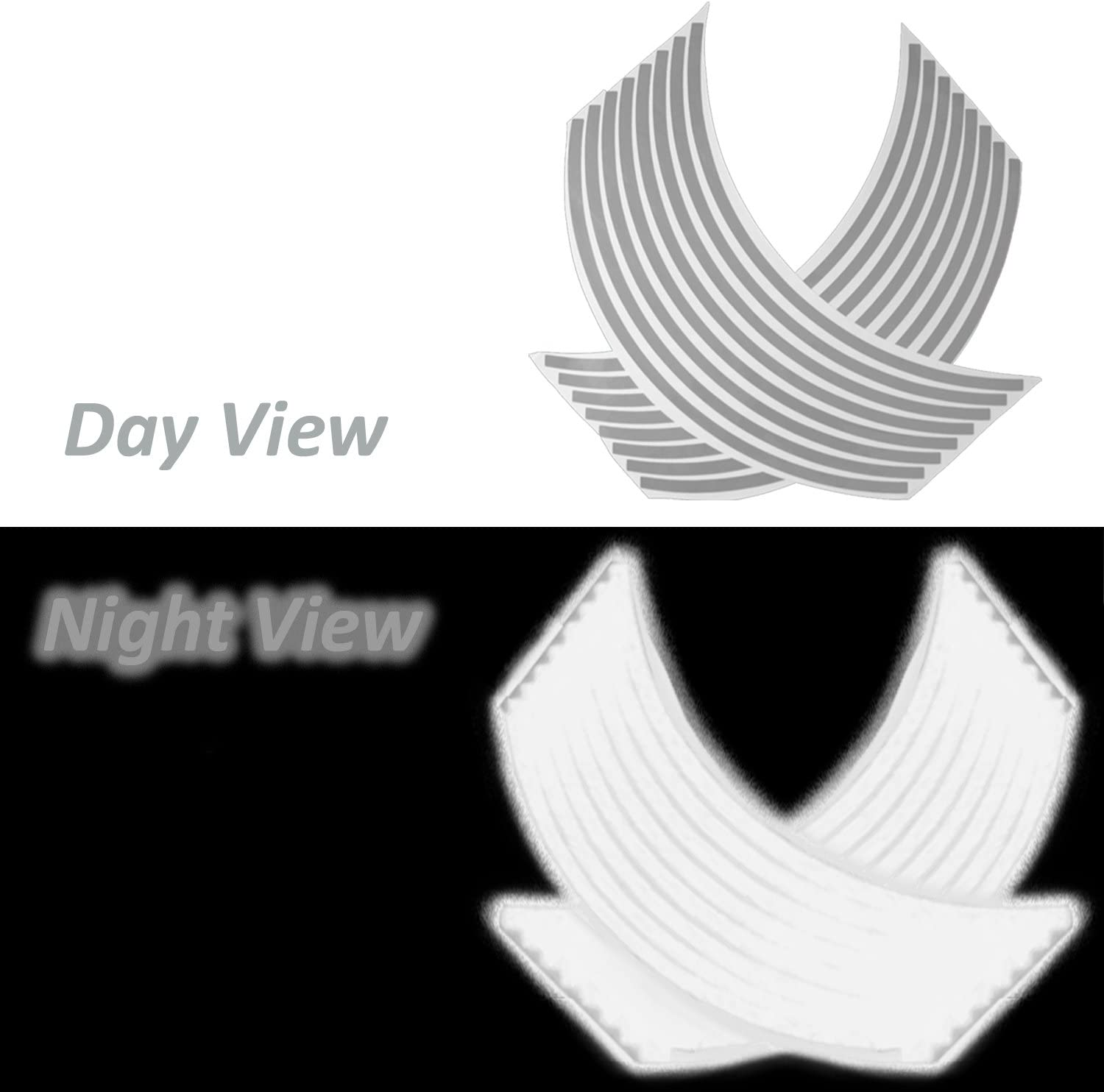 ExtremePowersports Reflective Rims Tape//Wheel Rim Decal Stripes Sticker Glowing Silver