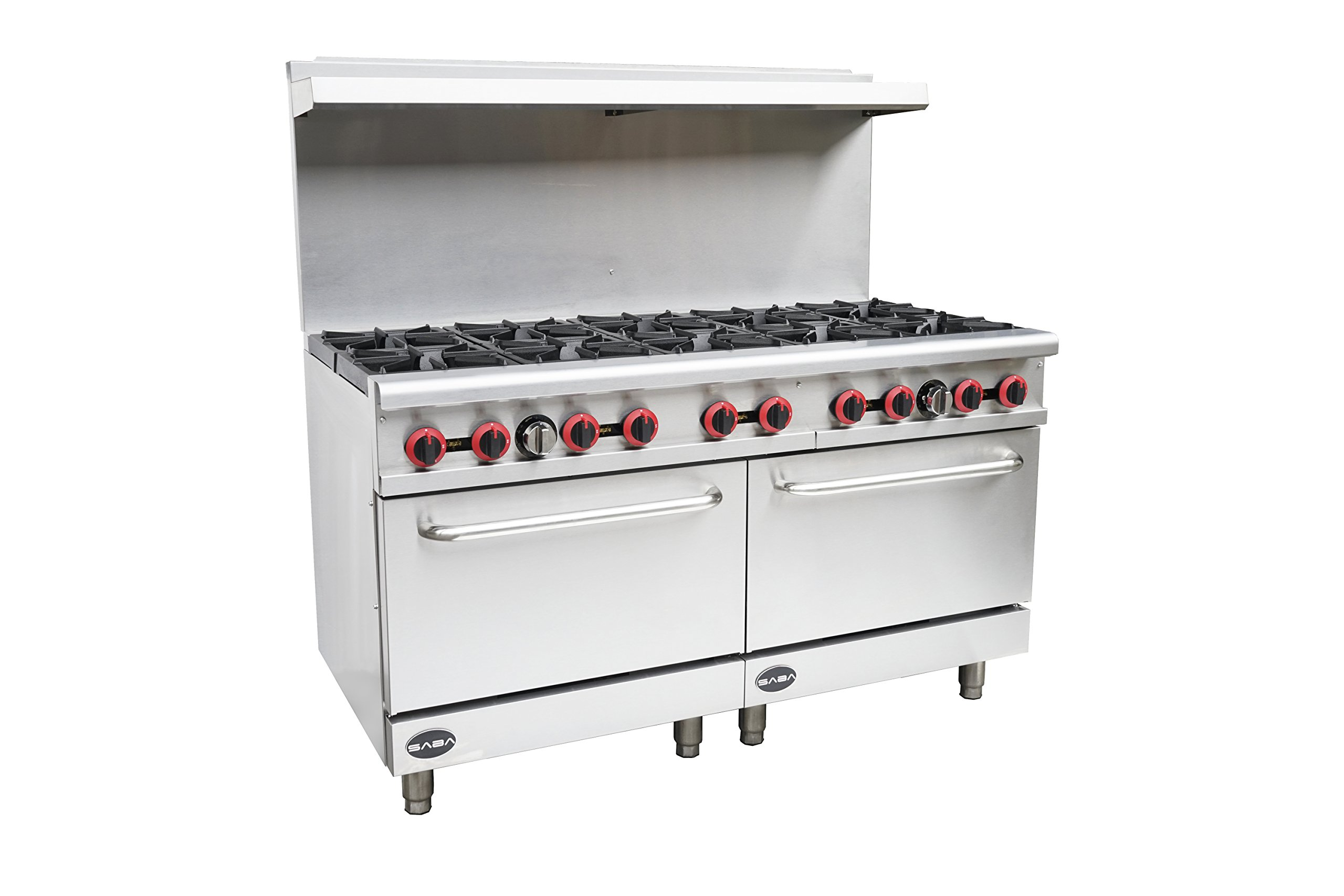 Heavy Duty Commercial 60'' Gas 10 Burner Range with Oven