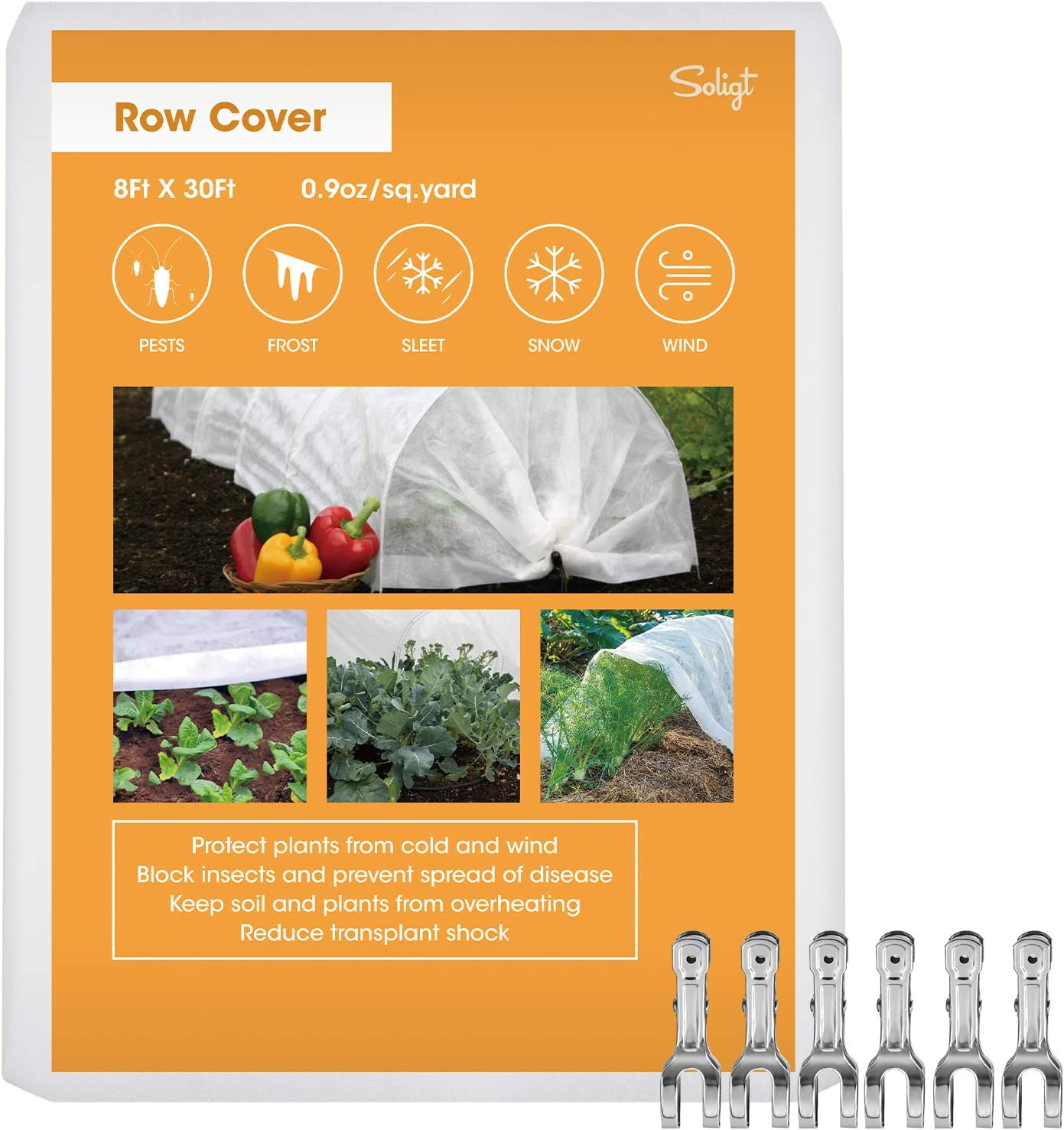 SOLIGT Row Cover Floating Plant Cover Freeze Protection 0.9oz Fabric Frost Cloth Blanket 8Ft X 30Ft with Pipe Clamps for Raised Beds & Garden Vegetable