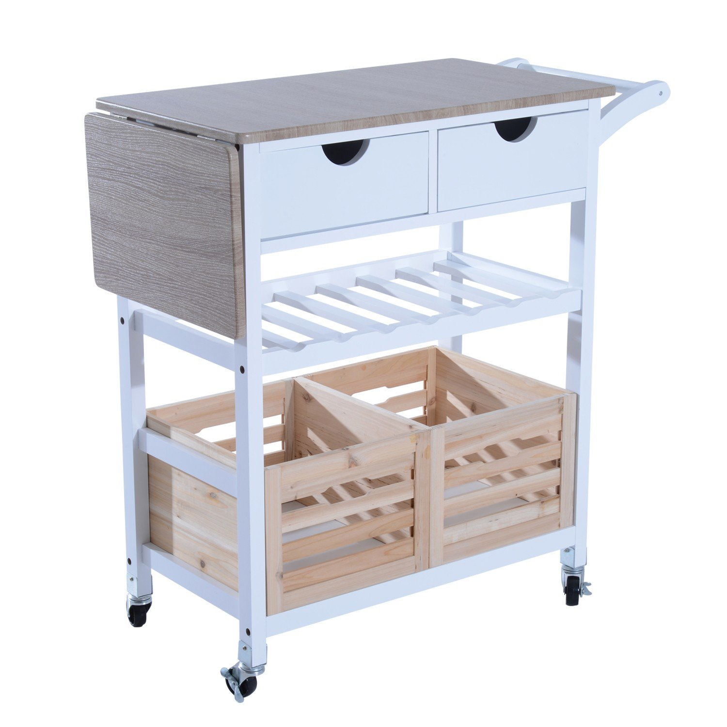 Rolling Wood Top Drop-Leaf Kitchen Trolley Cart Storage Drawer Stand w- Wine Rack