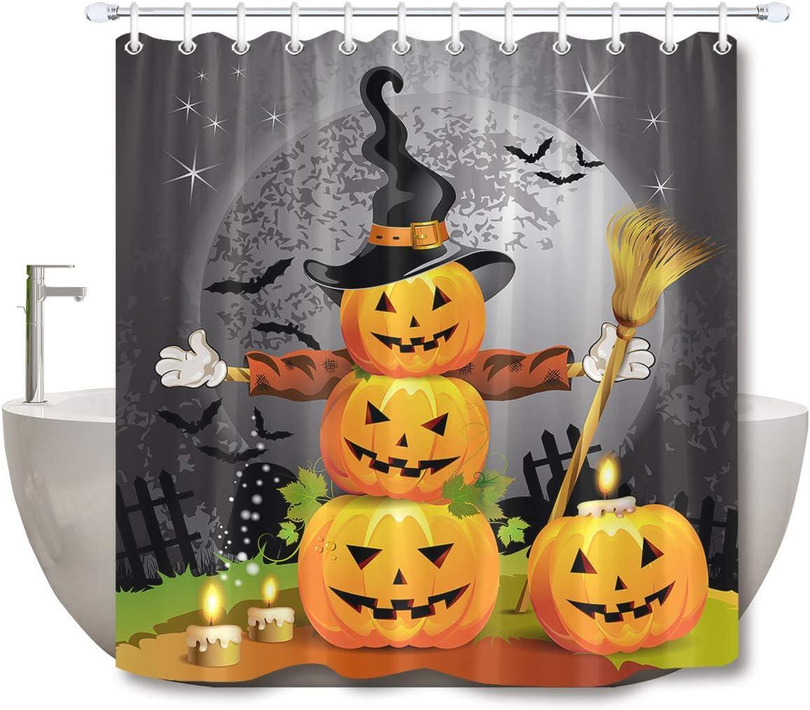 LB Halloween Pumpkins Shower Curtain Set Magic Hat Ghost Broom Bathroom Curtain Party Decor,Bath Curtain Hooks Include,72x72 inch Waterproof Polyester Fabric