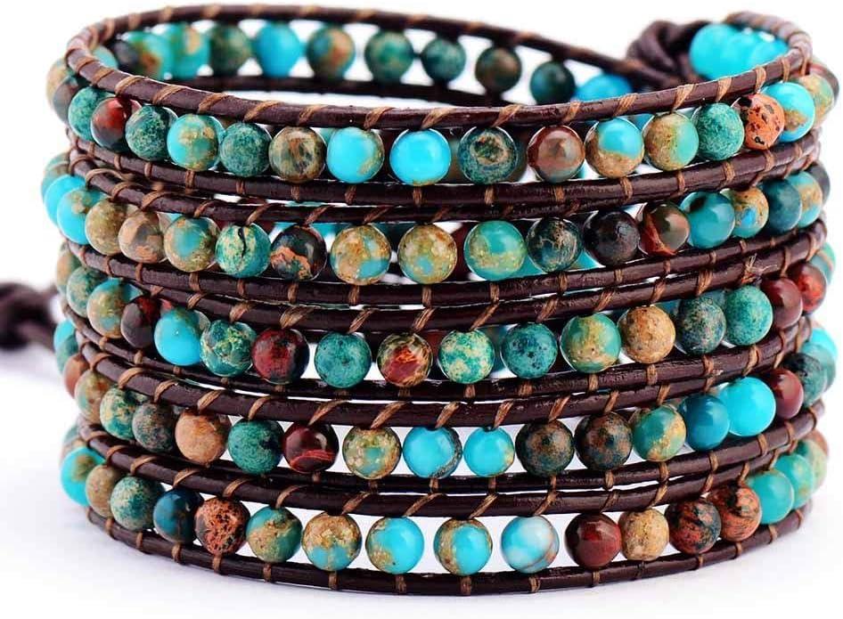 jiao Pulsera de Cuero de Piedra Natural, Pulsera de Tejido con Cuentas de Piedra semipreciosa Unisex, joyería de Cuerda de Cuero para Mujer