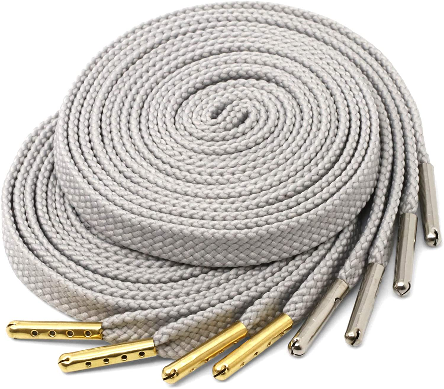 Thick Flat Wide White Shoelaces wcopper metal tips
