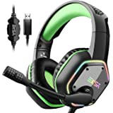 EKSA 7.1 USB Gaming Headset - Surround Stereo Sound - PS4 Headphones with Noise Canceling Mic & RGB Light Over Ear…