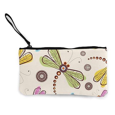 Wrution - Monedero de Lona con diseño de libélula y Flores ...