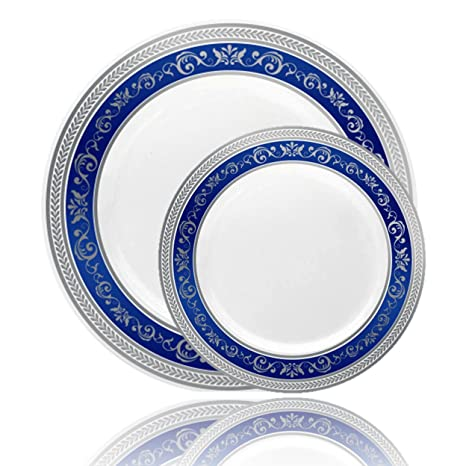 Posh Setting Royal Collection Combo Pack China Look White Silver/Blue Plastic Plates (  sc 1 st  Amazon.com & Amazon.com: Posh Setting Royal Collection Combo Pack China Look ...
