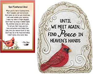 Lola Bella Gifts and Ganz Until We Meet Again Cardinal Garden Stone and Red Feathered Soul Poem Card Box Sympathy Grief Memorial Gift