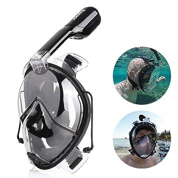FEMOR Máscara de Buceo 180 Grados de Visión Diseño con Tubo Respirar Libre Máscara y Tubo Integrados Anti - Vaho y Anti-Fugas L/XL