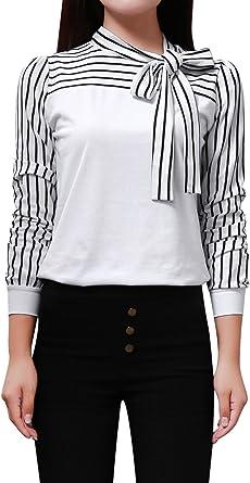 Allegra K Lazo Cuello-Blusa para Mujer, Manga Larga, diseño de otoño Alto Relajado.: Amazon.es: Ropa y accesorios